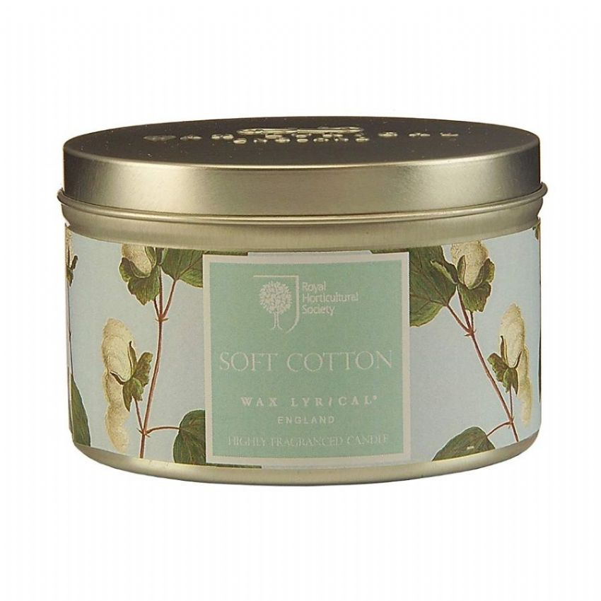 Soft Cotton Scented Tin Candles RHS Fragrant Garden Wax Lyrical 20 Hours